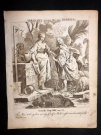 Butley 1762 Antique Religious Print. Abraham's Servent Meeting Rebecca